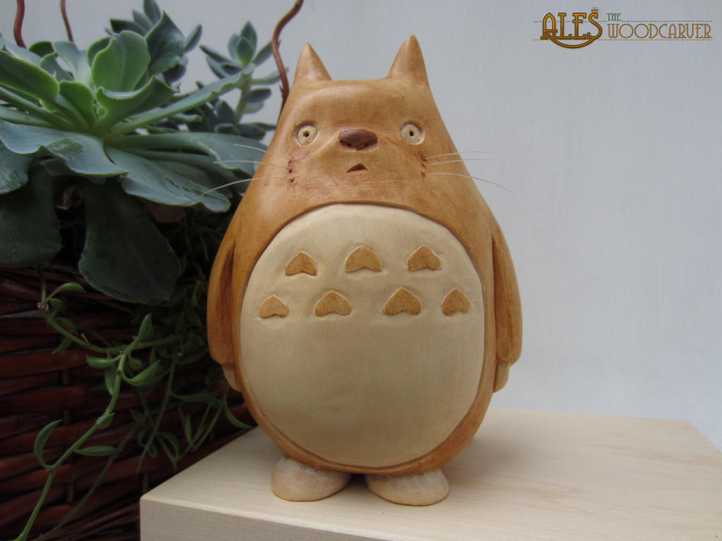 Totoro, hand carved in basswood by alesthewoodcarver