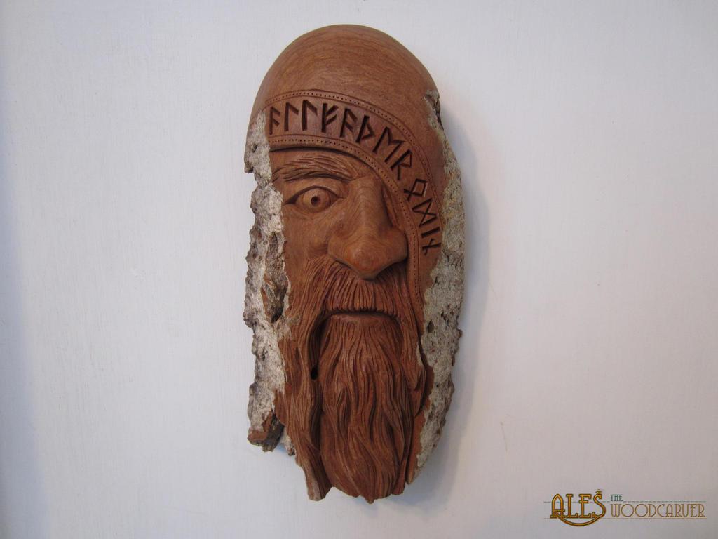 Woodspirit of Odin by alesthewoodcarver
