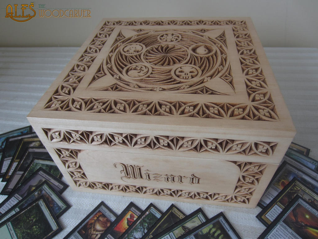 Large MTG card box, chip carving by alesthewoodcarver