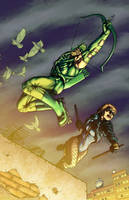 Green Arrow Black Canary by ChrisSummersArts
