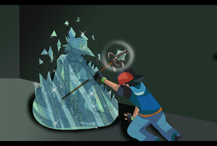 Pokemon fusion scene ash encounter with auron by hikariangelove on