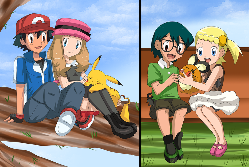 Serena, Ash and Bonnie by Zorueevee111 on DeviantArt