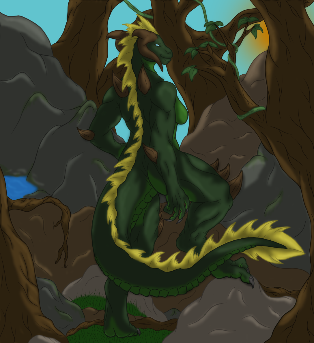 Anthro dragoness nude scene