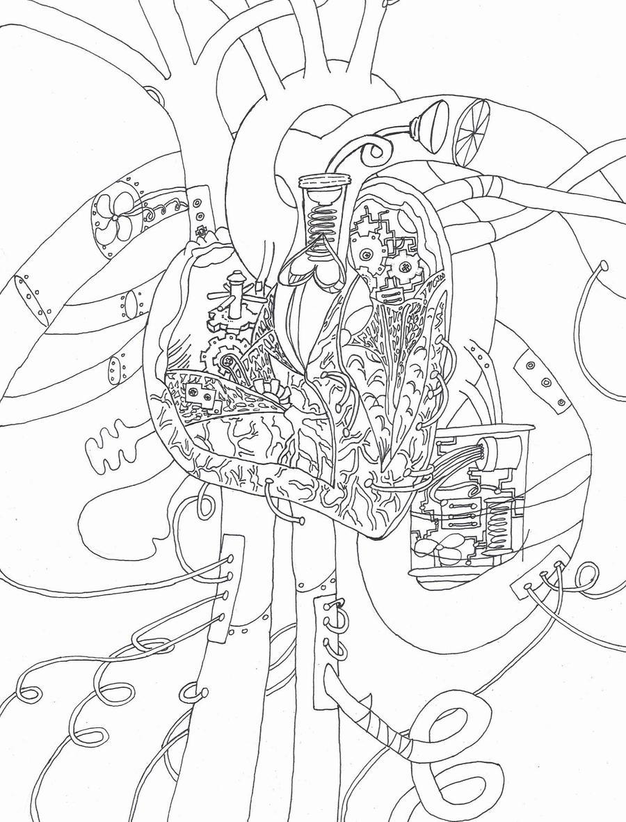 mechanical heart drawing