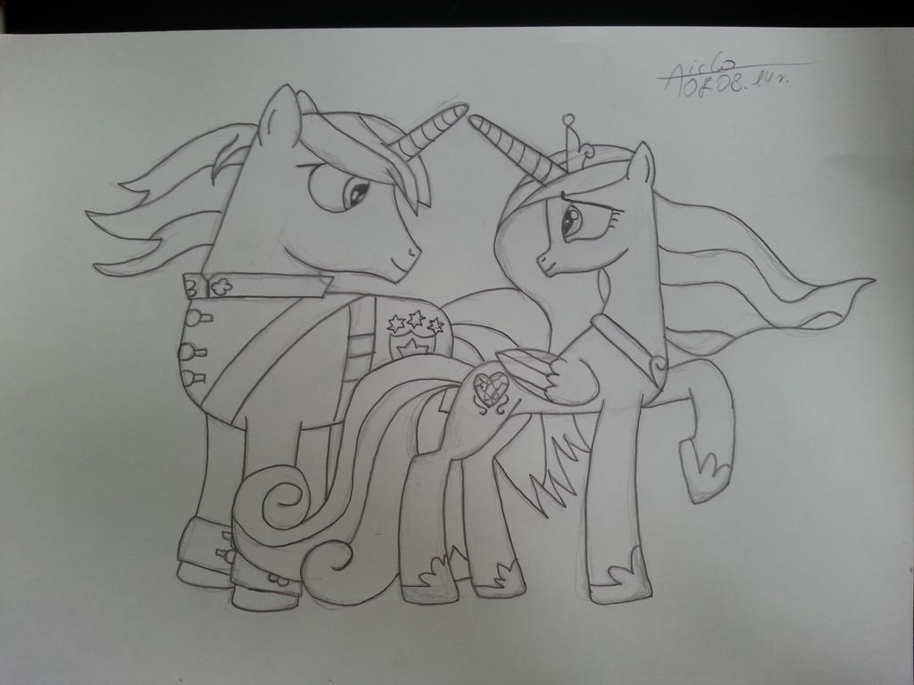 Sketch3: MLP Candece and Shining Armor by Aiclo
