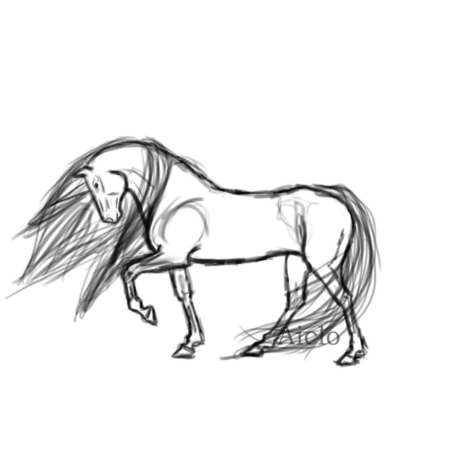 Neon horse - sketch by Aiclo