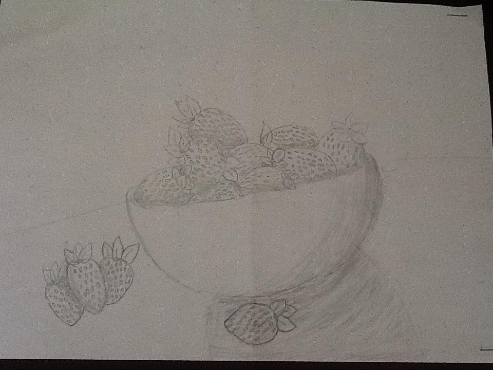 A Bowl of Strawberries Sketch by RainbowDoggy123