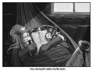 INKTOBER 21: Sleep - Rock-a-bye knight...