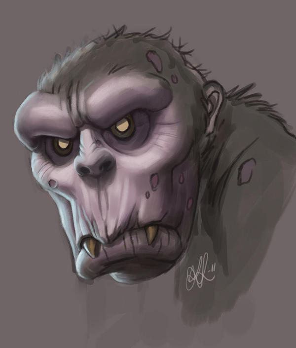 A zombie chimpanzee by KatLouhio