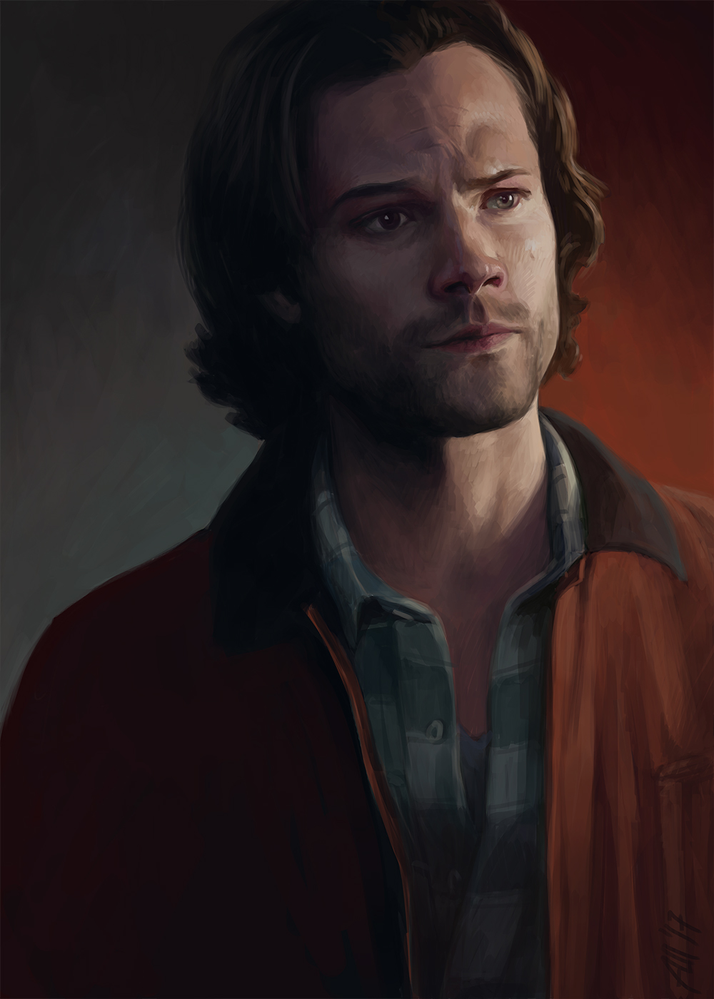Sam Winchester in red jacket by Armellin