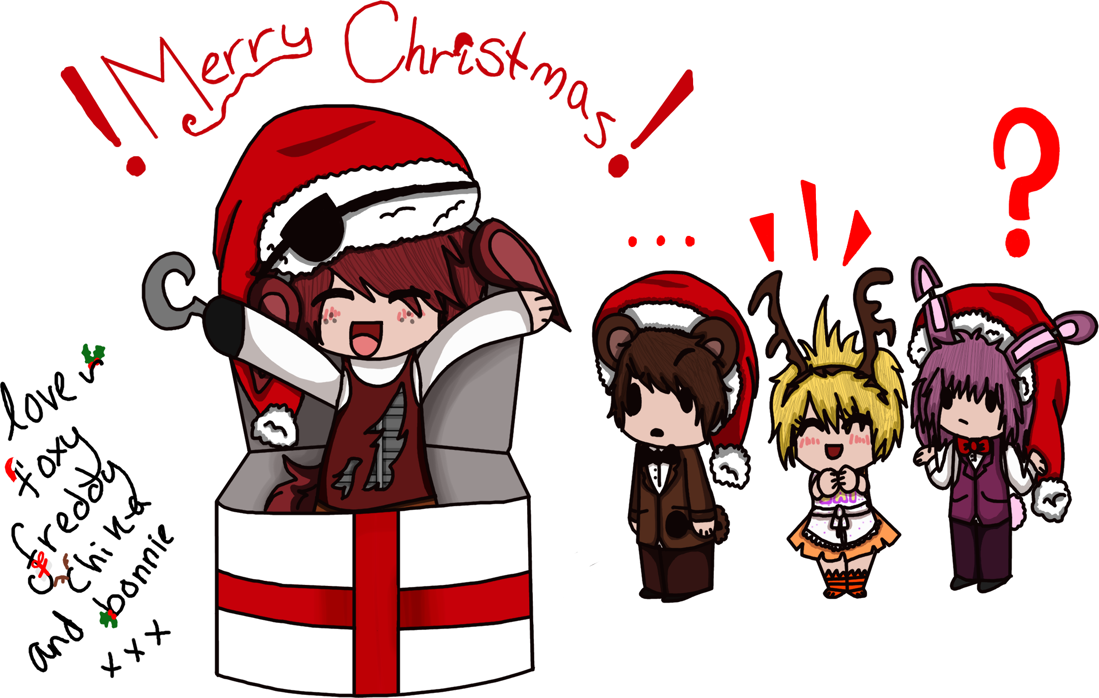 Merry Christmas From Fnaf (mostly Foxy) by xXpotsy208Xx on DeviantArt