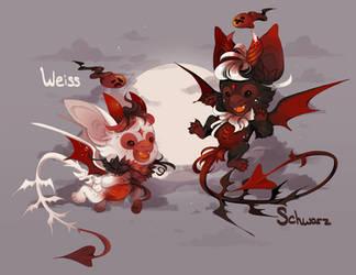 PaintedImps:Vampiric Bloodmoon Twins:CLOSED by CitrusFoam