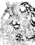 Spiderman, Venom, Carnage Battle Royale (inked) by ManlyProductions