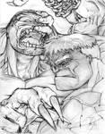 Pitt vs Hulk Sketch by ManlyProductions