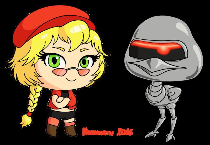 Nima-chan and Robo-Ostrich by Nanahuatli