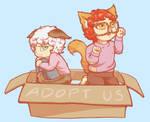 Chibi cat Saeran and Saeyoung by Nanahuatli