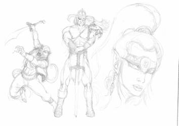 Sketch for first page of concept art - Golden Axe by conradknightsocks