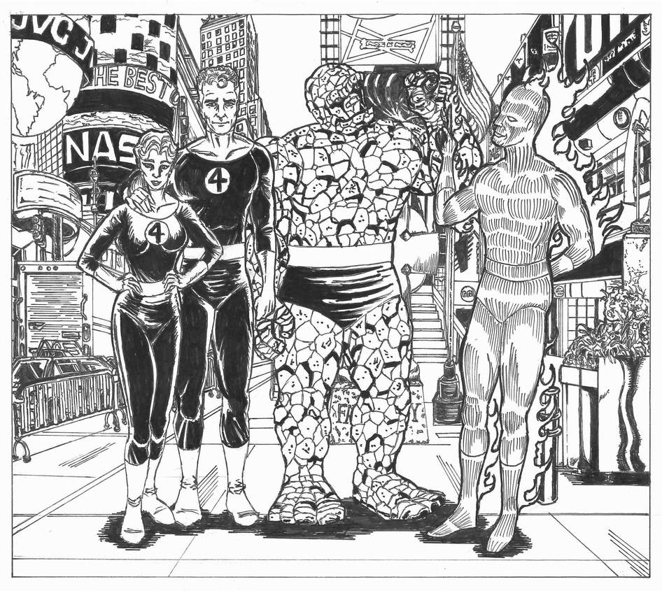 Fantastic Four in Times Square by conradknightsocks