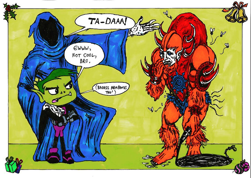 The Ghost Of Christmas Future visits Beast Boy by conradknightsocks