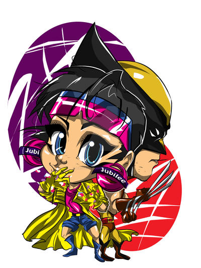 chibi wolverine and jubilee color by raccoon-eyes