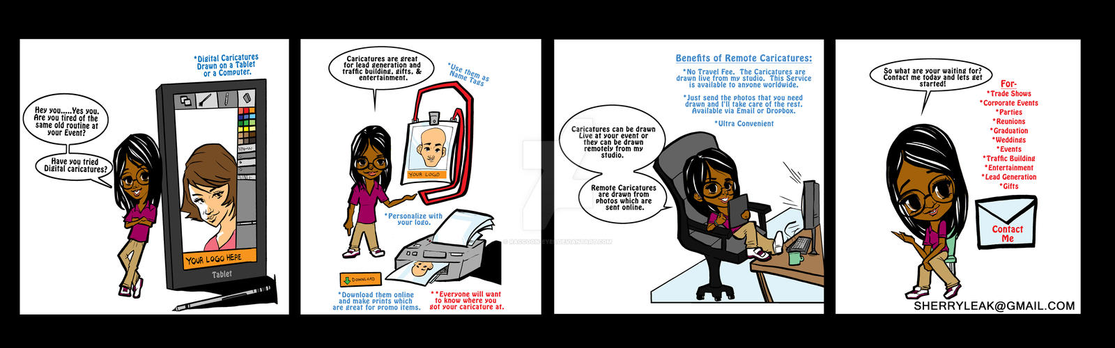 trade show caricature comic by raccoon-eyes