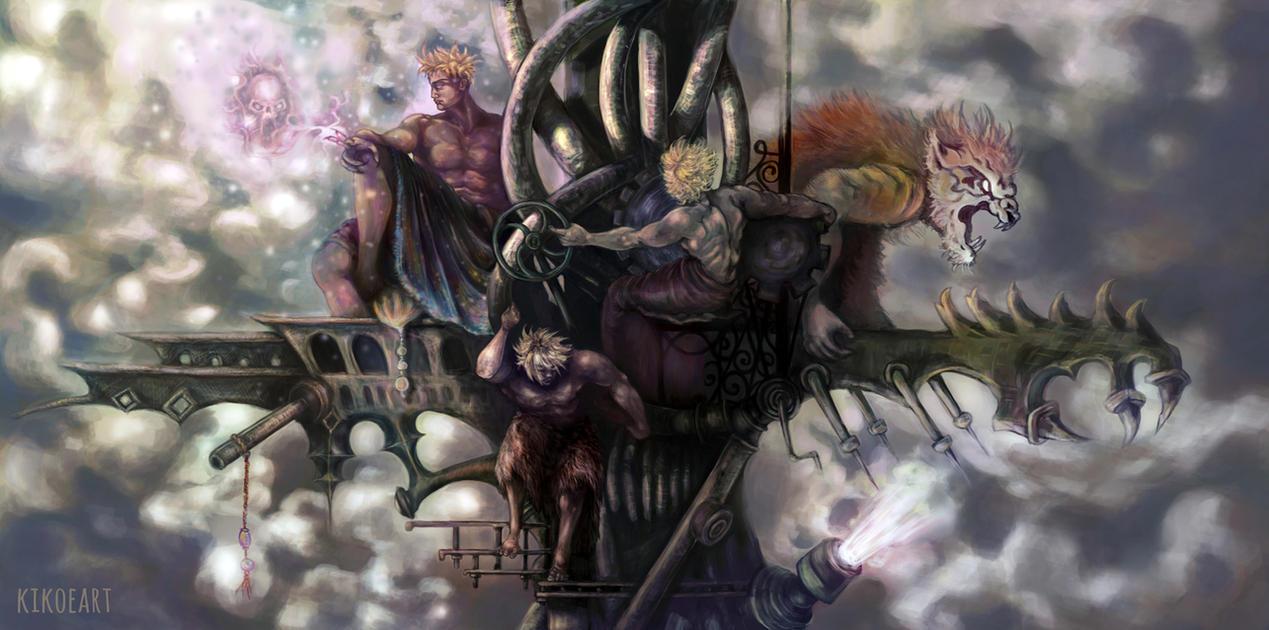 Kefka's Tower: Magic, Power, Machine and Tiger by kikoeart