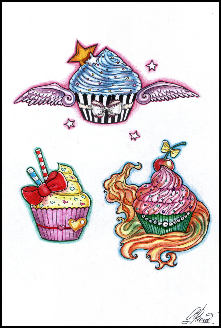 Cake Art Design School : Cupcake tattoos by RayneColdkiss on DeviantArt