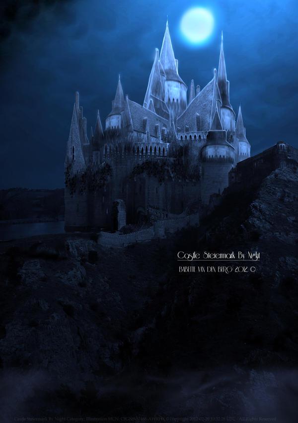 Castle Steiermark By Night by babsartcreations