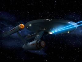 The Restored Starship Enterprise Model in Space by Cannikin1701