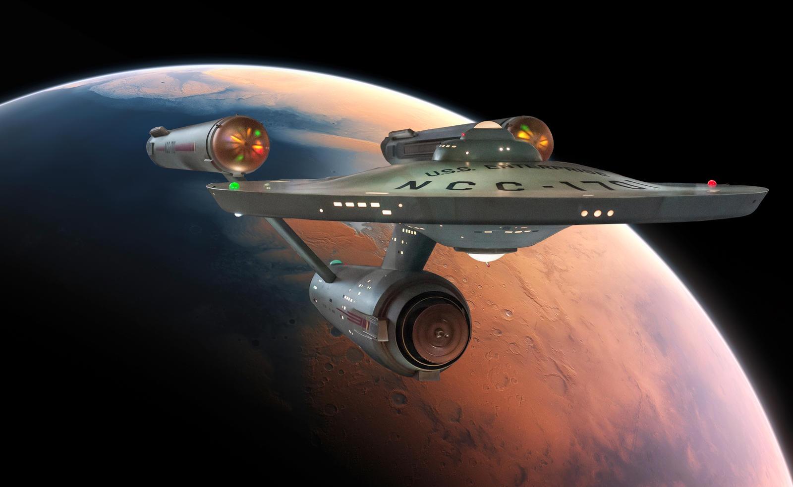 Restored Starship Enterprise Model Over Mars