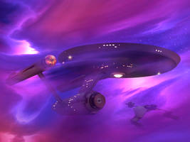 Restored Starship Enterprise in Nebula by Cannikin1701