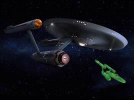 Restored Starship Enterprise Model and Defiant by Cannikin1701