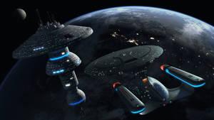 Enterprise D Docking at a Starbase by Cannikin1701