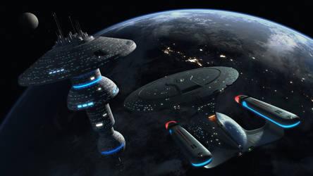 Enterprise D Docking at a Starbase
