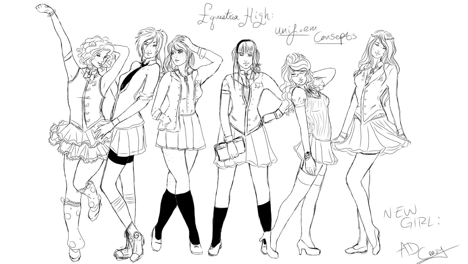 Line Art Uniform : New girl line up uniform concepts by rayna crazy on