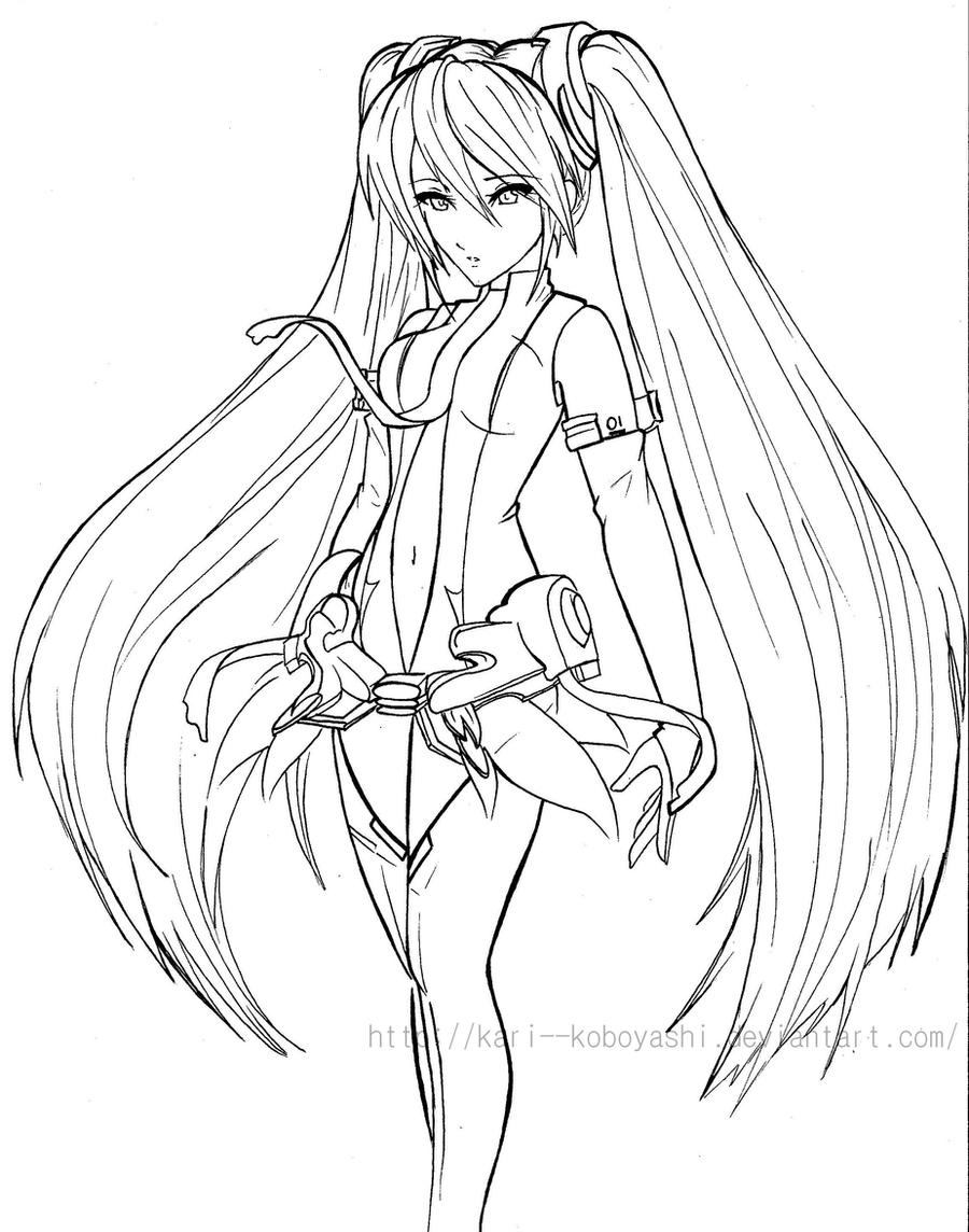 Miku Append- Line Art by Kari--Koboyashi