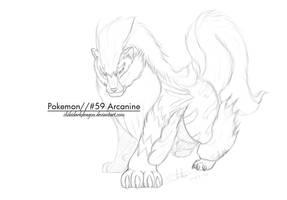 Sketch: Arcanine by LluhnarDragon