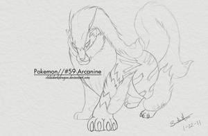 LineArt: Arcanine by LluhnarDragon