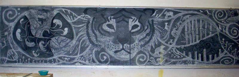 Earth Tiger chalk mural