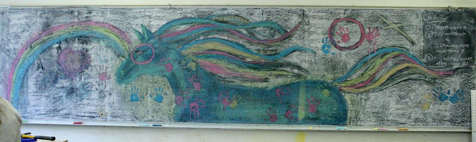 My Little War Pony chalk mural