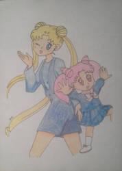 Usagi and Chibiusa by DashKnife-edge