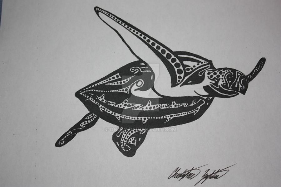 Tribal Turtle Drawings Tribal Turtle by GNRLZ