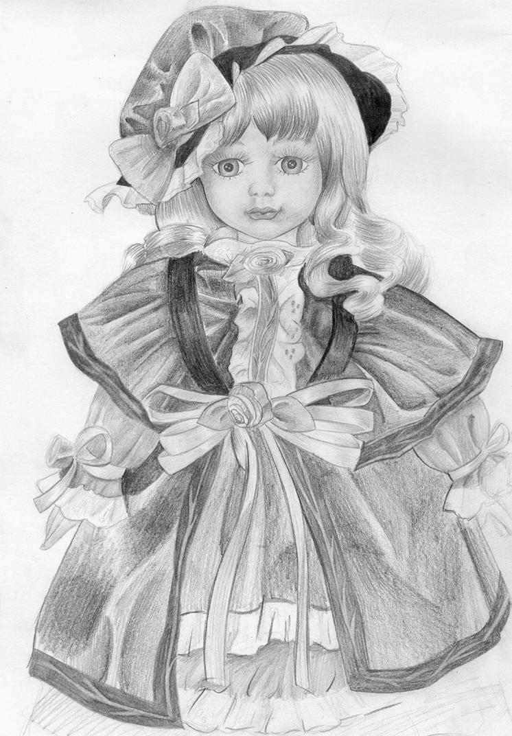 Childrens coloring sheet of a rag doll - Porcelain Doll By Dana Itachi On Deviantart Rag Doll Coloring Pages
