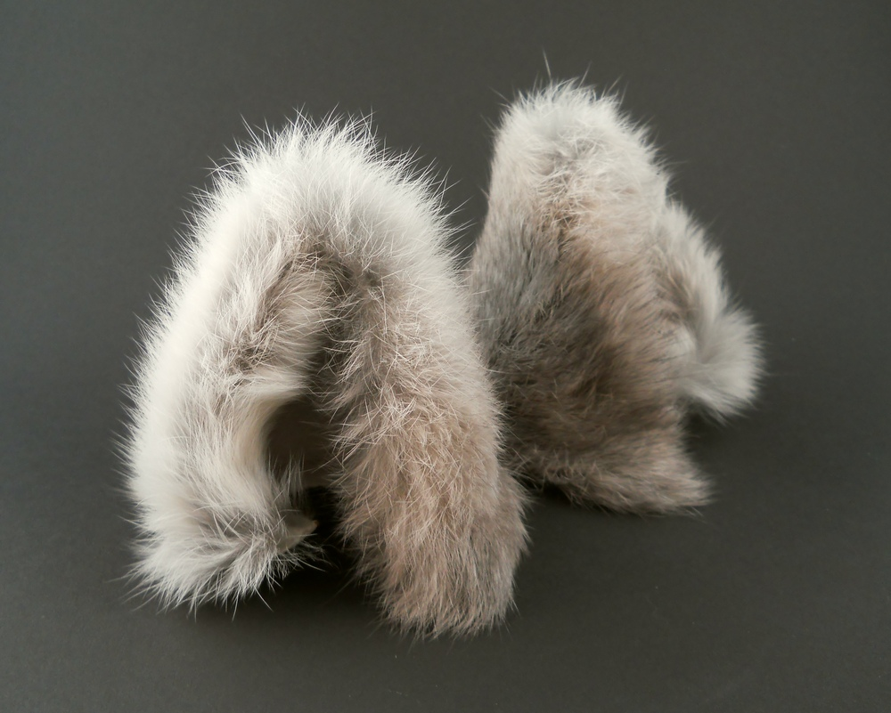silver gray fluffy furry wolf ears by storytellerzero