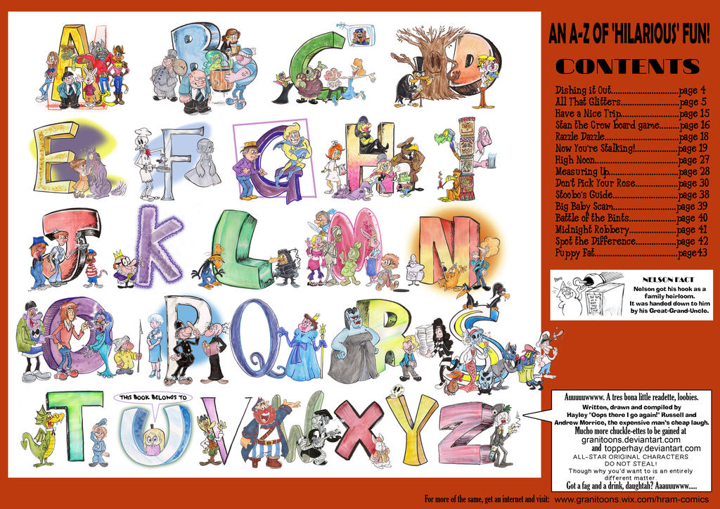 CONTENTS pages of comic book by Granitoons