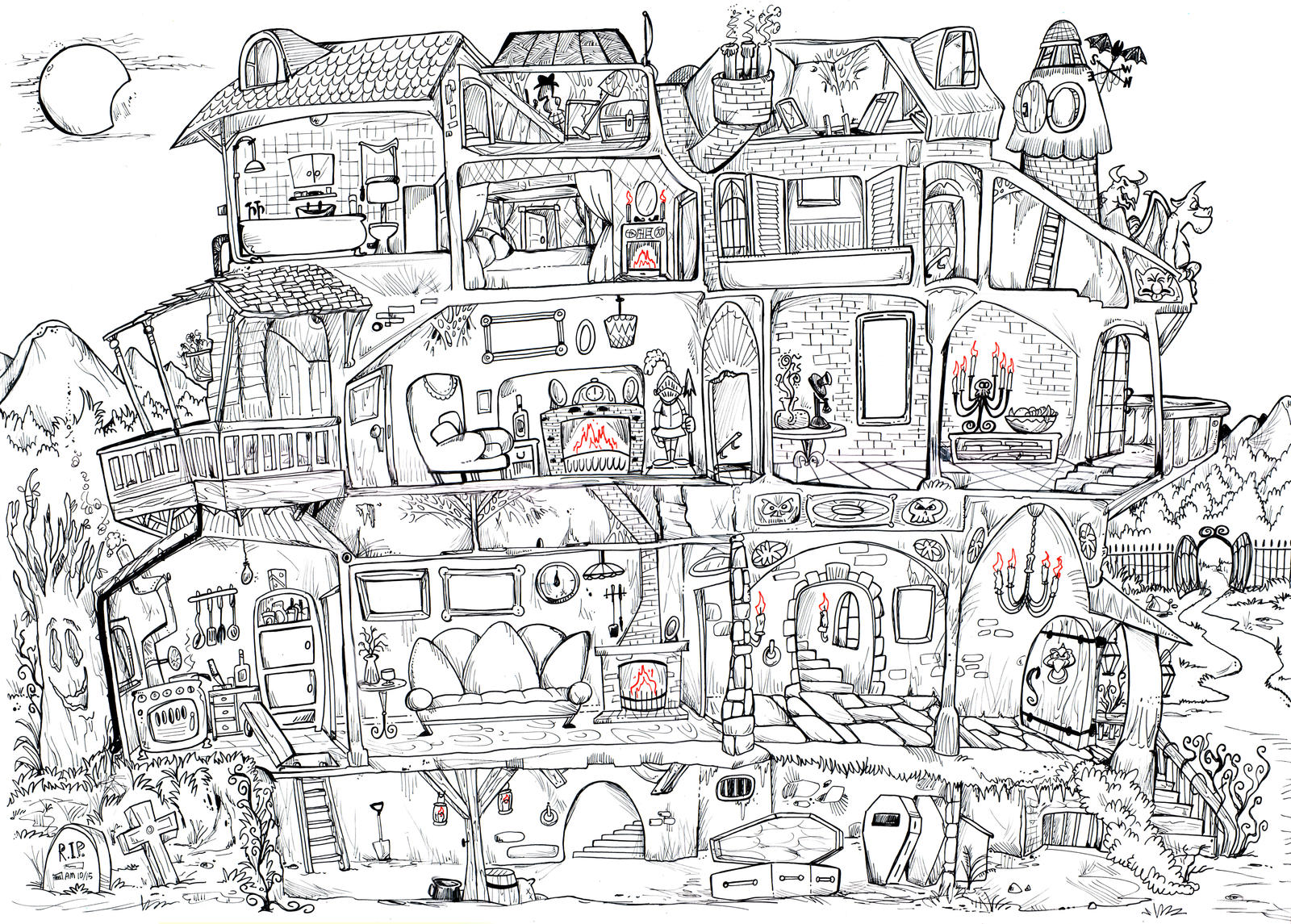 Haunted House Plan By Granitoons On Deviantart