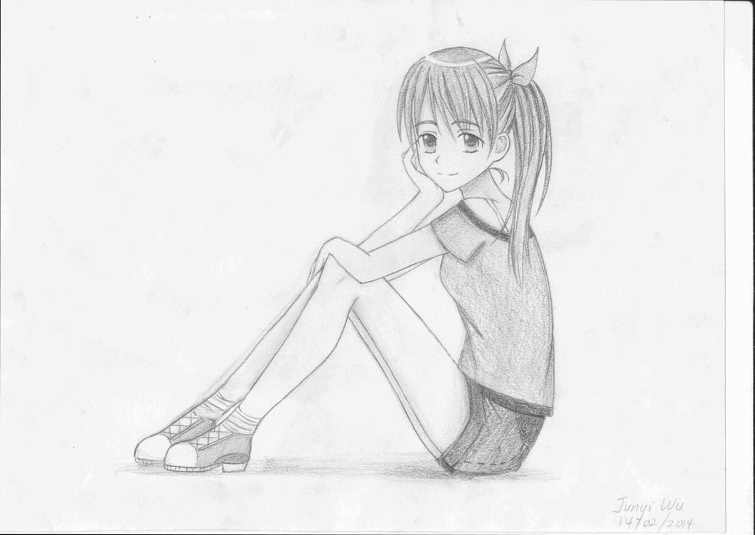 Manga girl sitting pose by anime lover12345