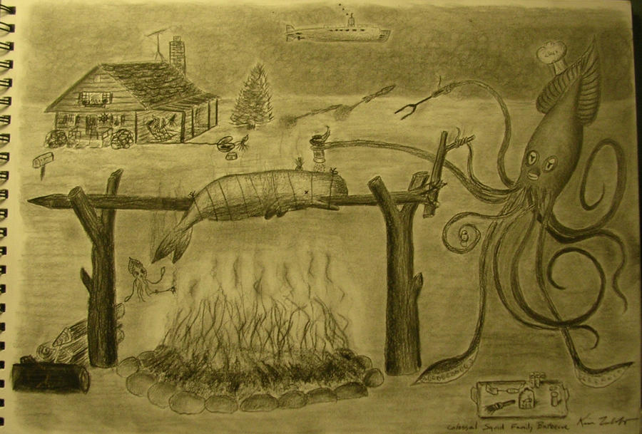 Colossal Squid Family Barbecue by kevinzabbo
