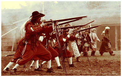 Musketeers during the battle