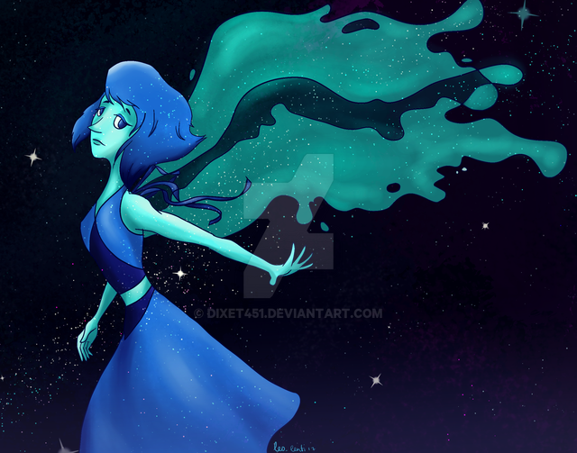 "I started watching ""Steven Universe"" lately, and man, it is great! So, here is a precious Lapis in space. (I admire the style of this show, it is so simple and beautiful at the same tim..."
